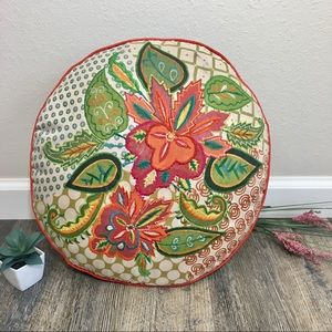 Journey To India Floral Embroidered Accent Pillow